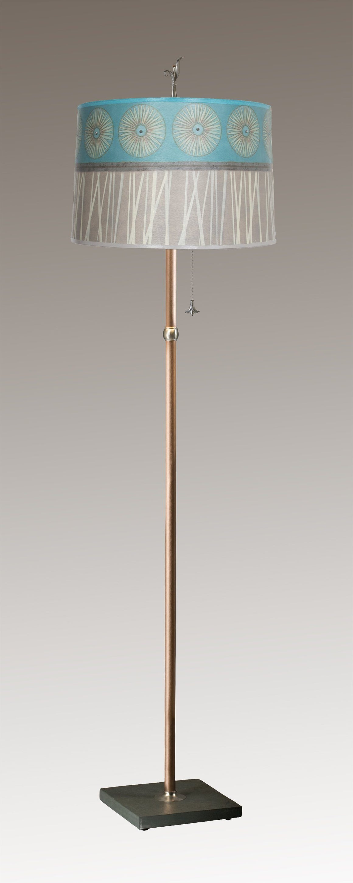 Copper Floor Lamp on Vermont Slate with Large Drum Shade in Pool