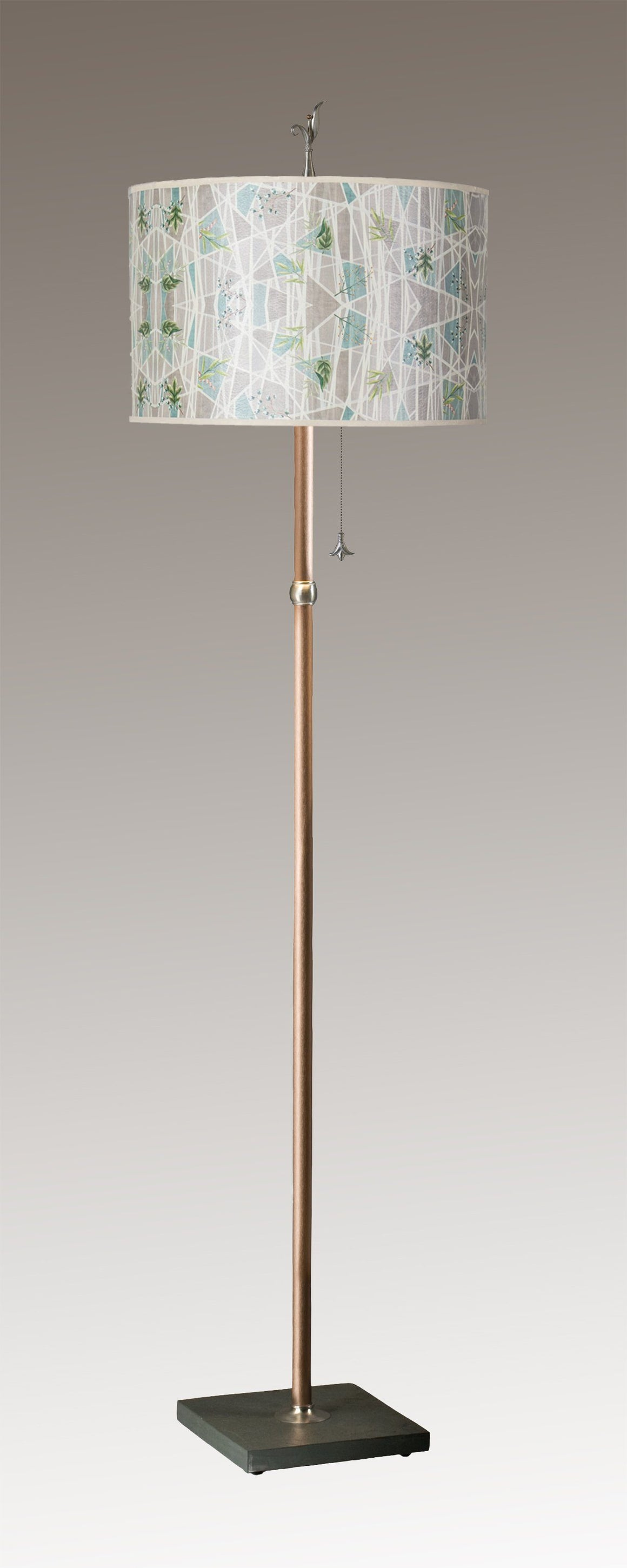 Copper Floor Lamp on Vermont Slate with Large Drum Shade in Prism