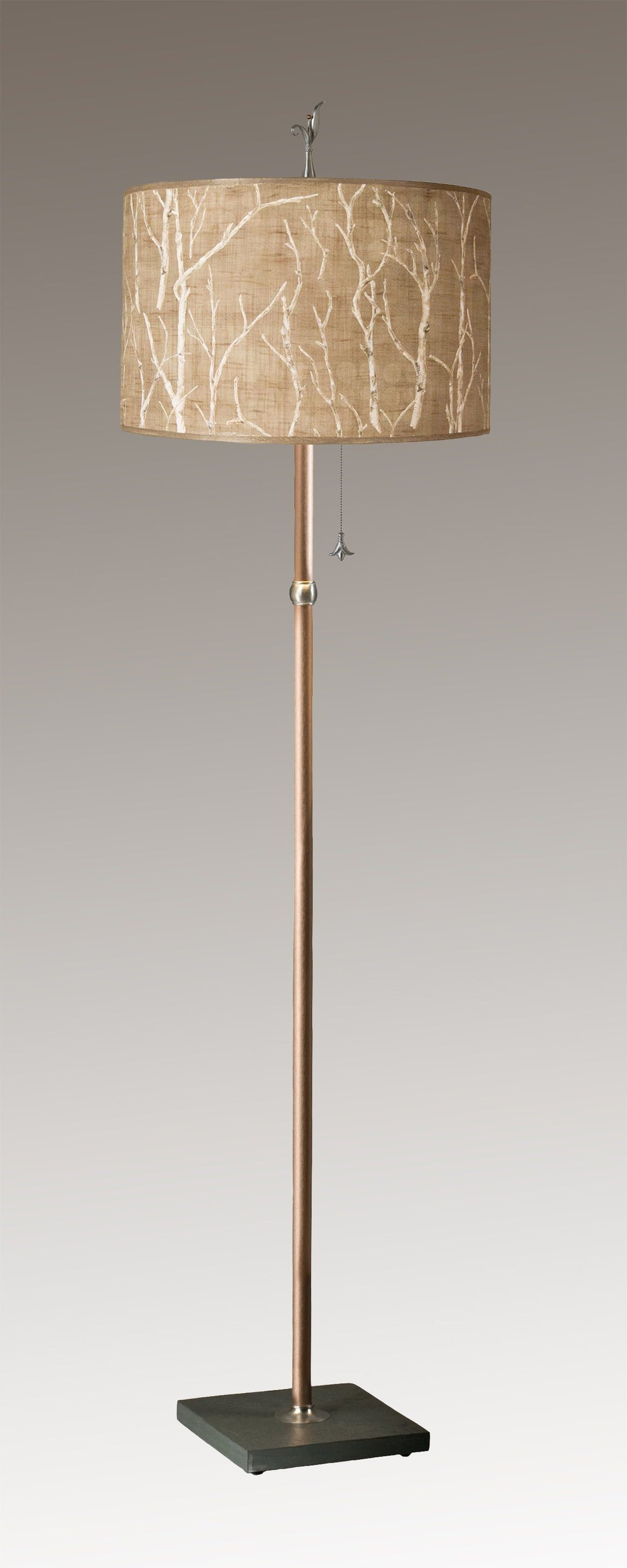 Copper Floor Lamp on Vermont Slate with Large Drum Shade in Twigs