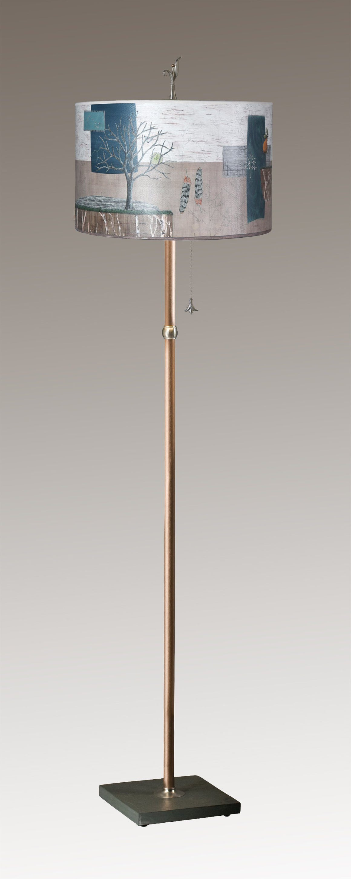 Copper Floor Lamp on Vermont Slate with Large Drum Shade in Wander in Drift