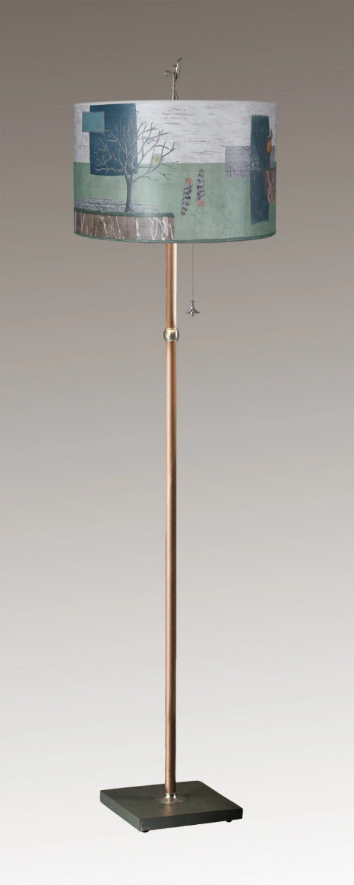 Copper Floor Lamp on Vermont Slate with Large Drum Lampshade in Wander in Field