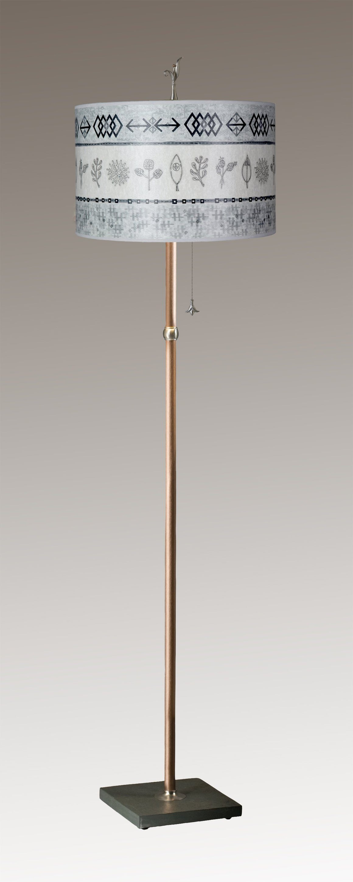 Copper Floor Lamp on Vermont Slate with Large Drum Shade in Woven & Sprig in Mist