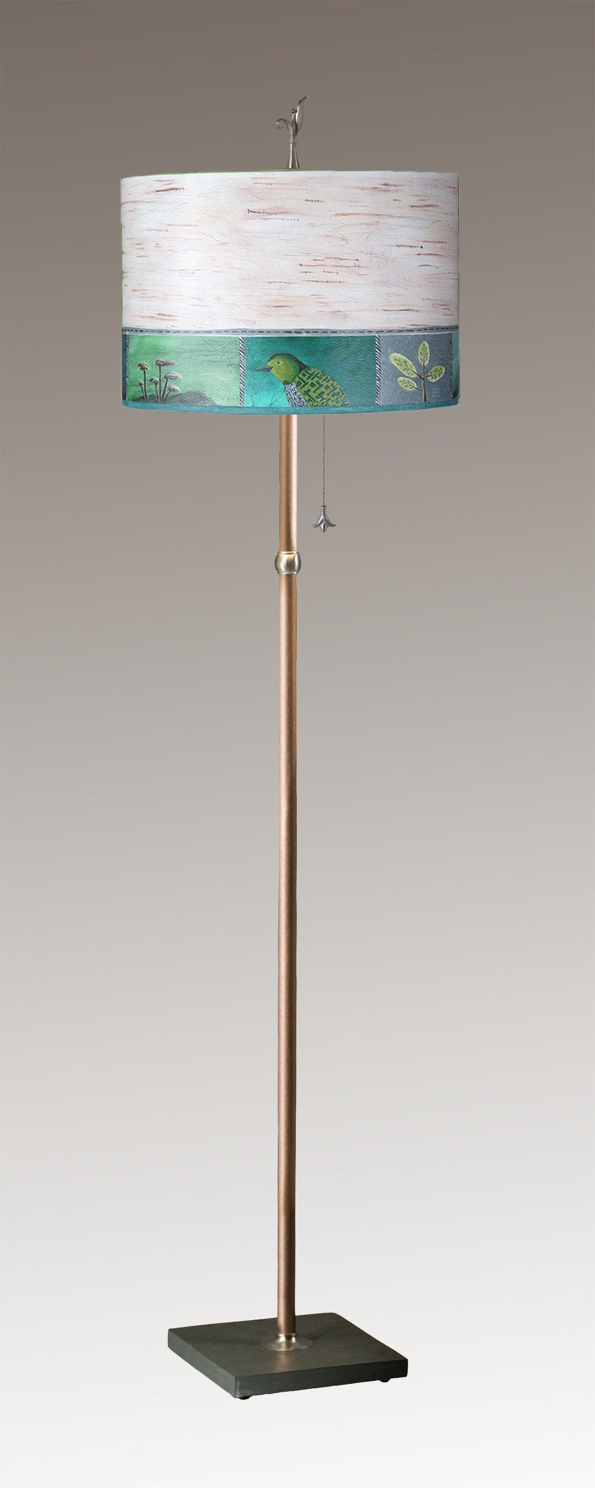 Copper Floor Lamp on Vermont Slate with Large Drum Shade in Woodland Trails in Birch