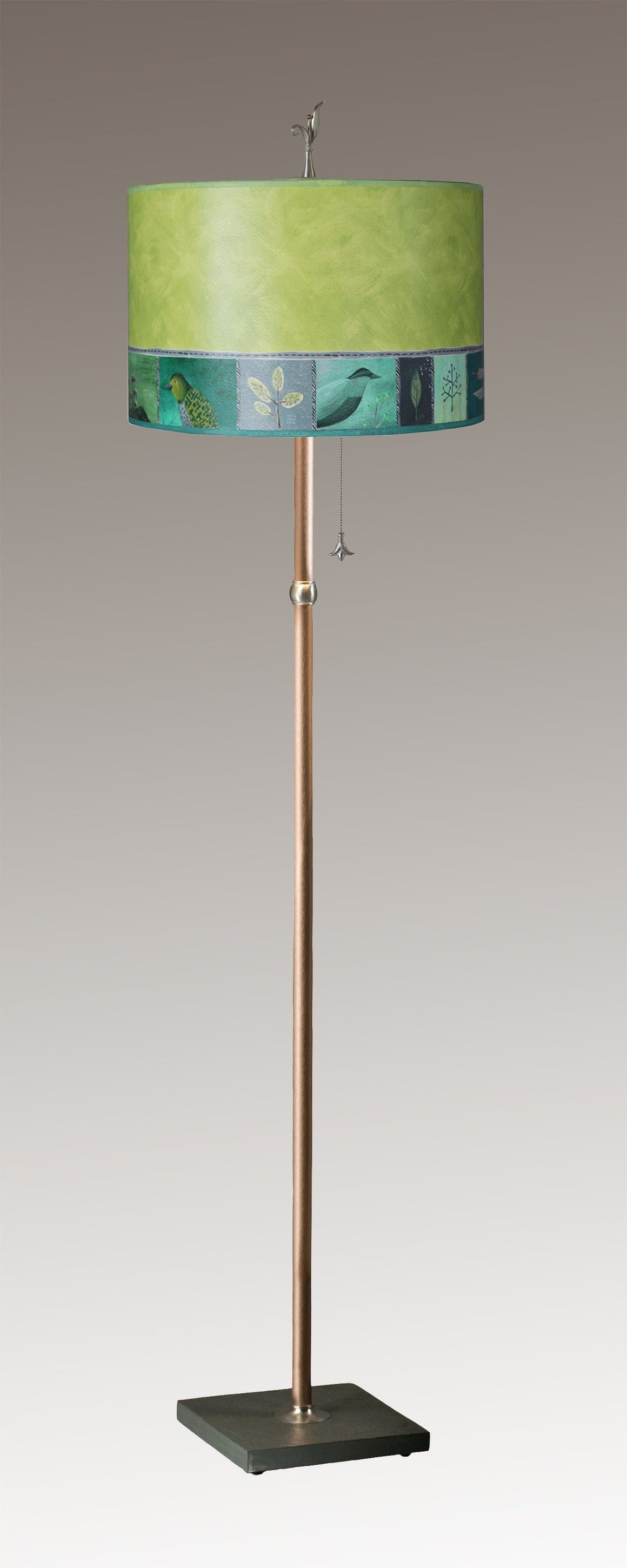 Copper Floor Lamp on Vermont Slate with Large Drum Shade in Woodland Trails in Leaf