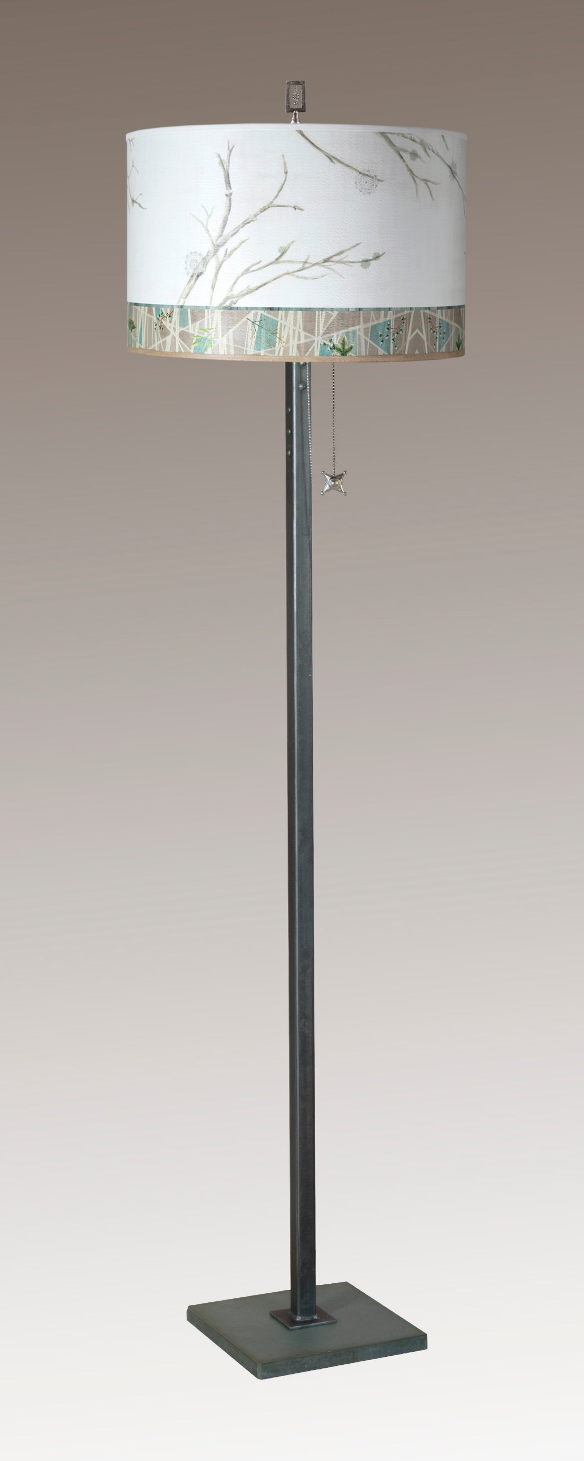 Steel Floor Lamp on Italian Marble with Large Drum Shade in Prism Branch
