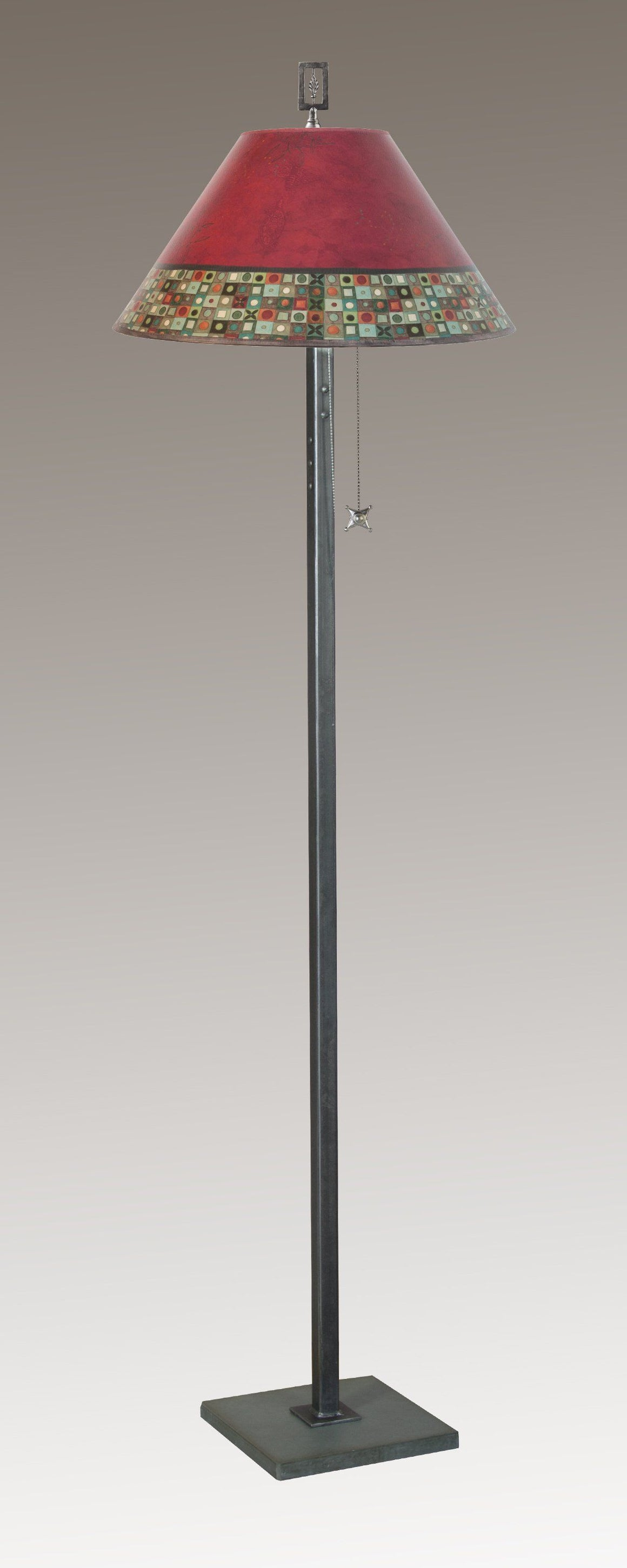 Steel Floor Lamp on Italian Marble with Large Conical Shade in Red Mosaic