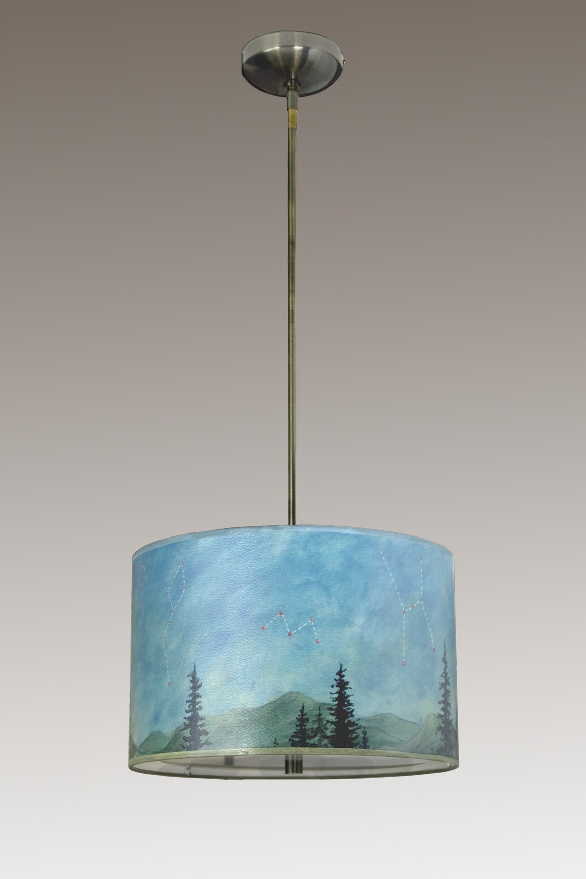 Large Drum Pendant Lampshade with Antique Brass or Satin Nickel in Midnight