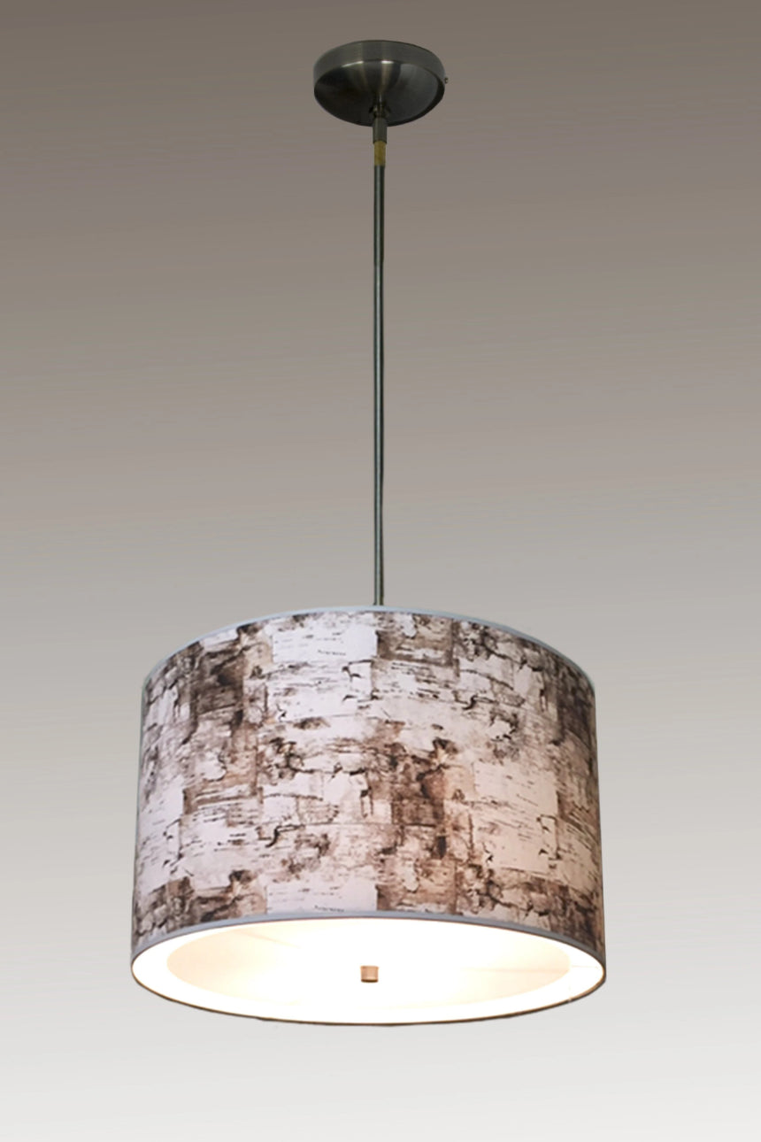 Large Drum Pendant Lampshade with Antique Brass or Satin Nickel in Birch Bark