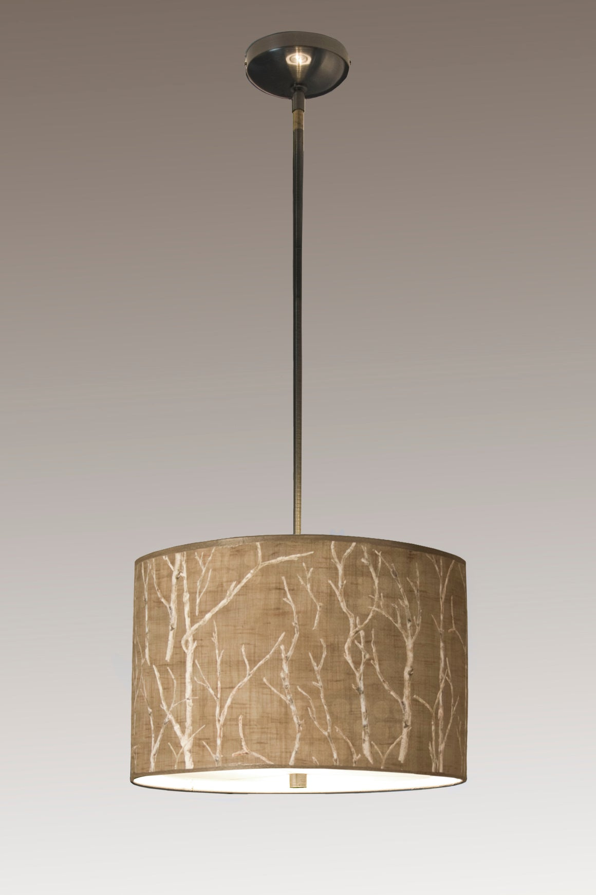 Large Drum Pendant Lampshade with Satin Nickel in Twigs