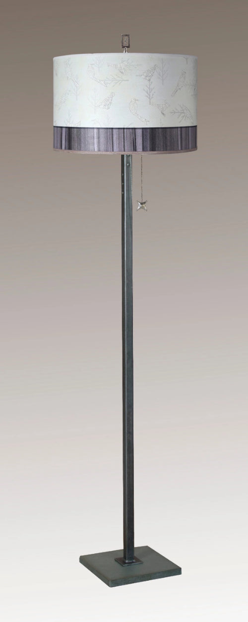 Steel Floor Lamp on Italian Marble with Large Drum Shade in Perch