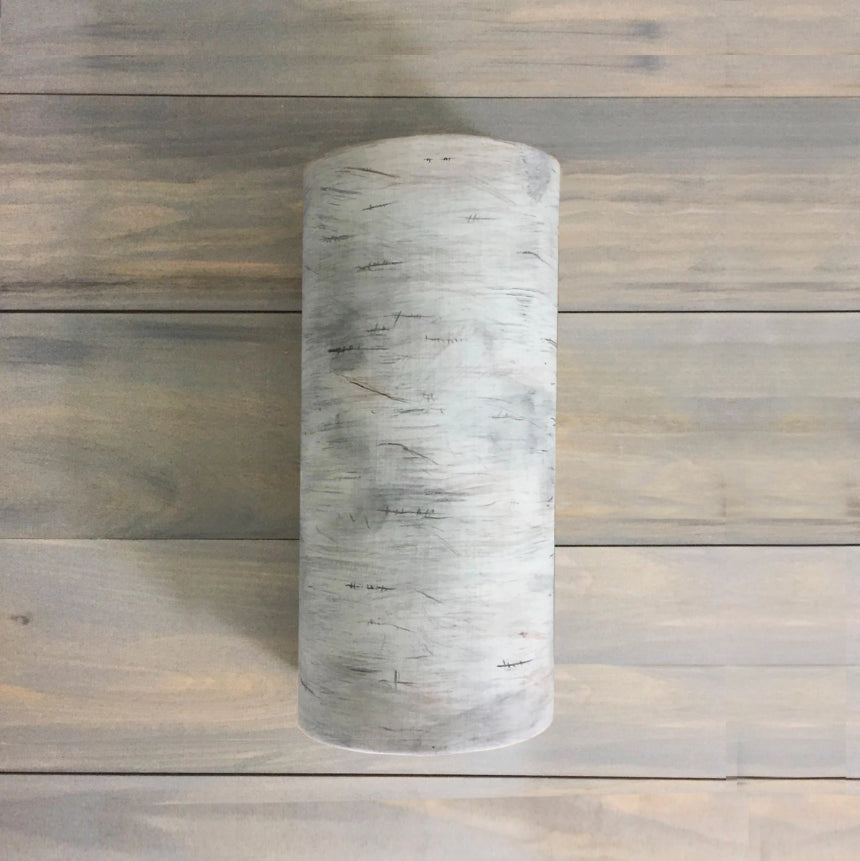 Ceramic Cylinder Sconce in White Birchbark
