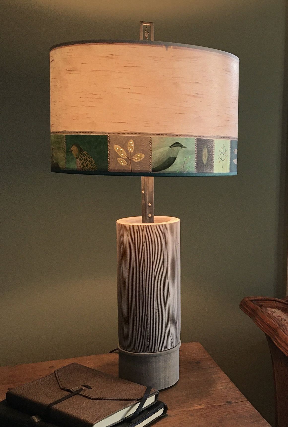 Ceramic and Wood Table Lamp with Large Drum Shade in Woodland Trail in Birch