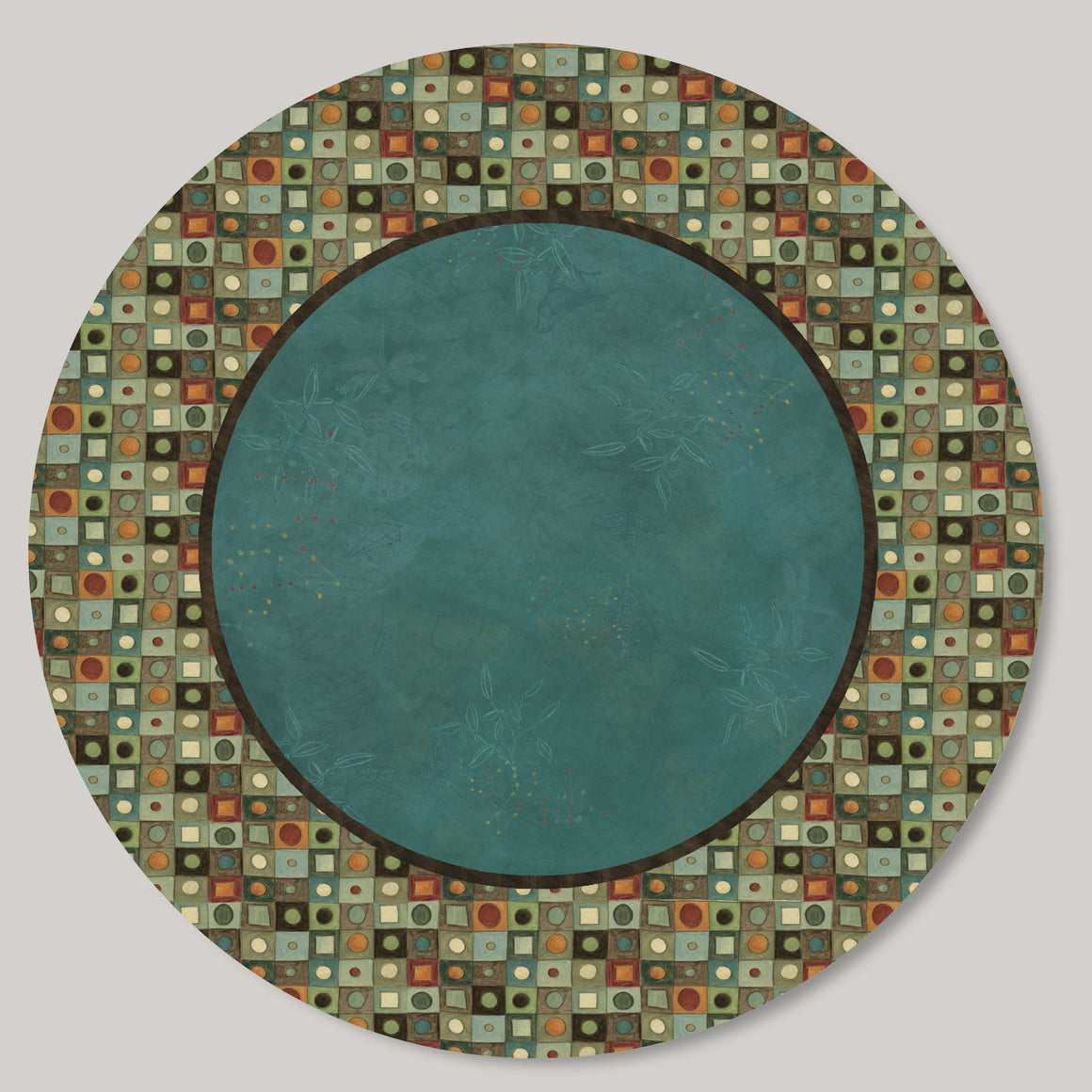Large Lazy Susan in Jade Mosaic