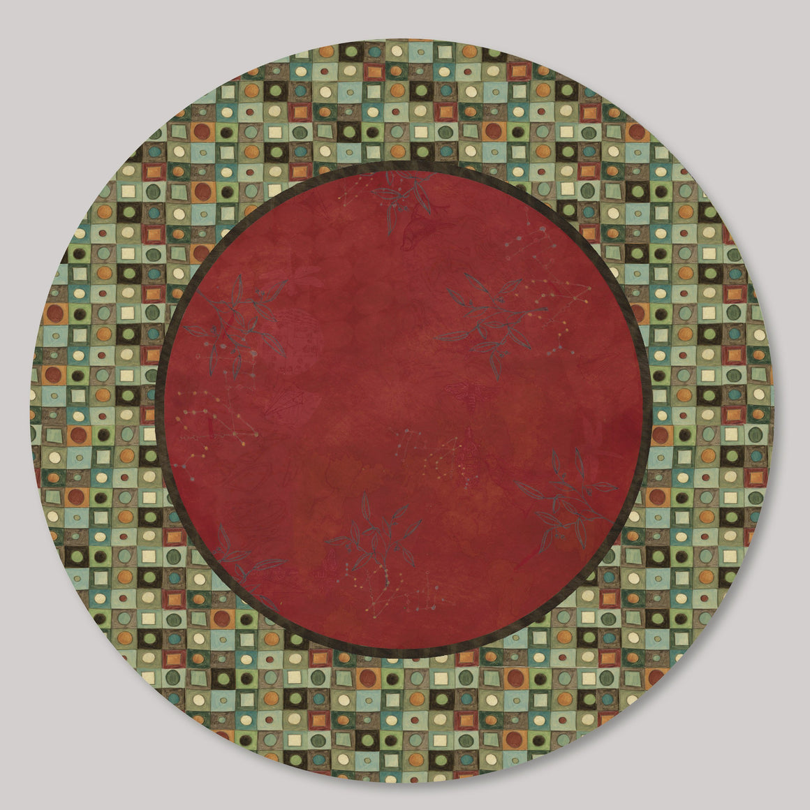 Large Lazy Susan in Red Mosaic