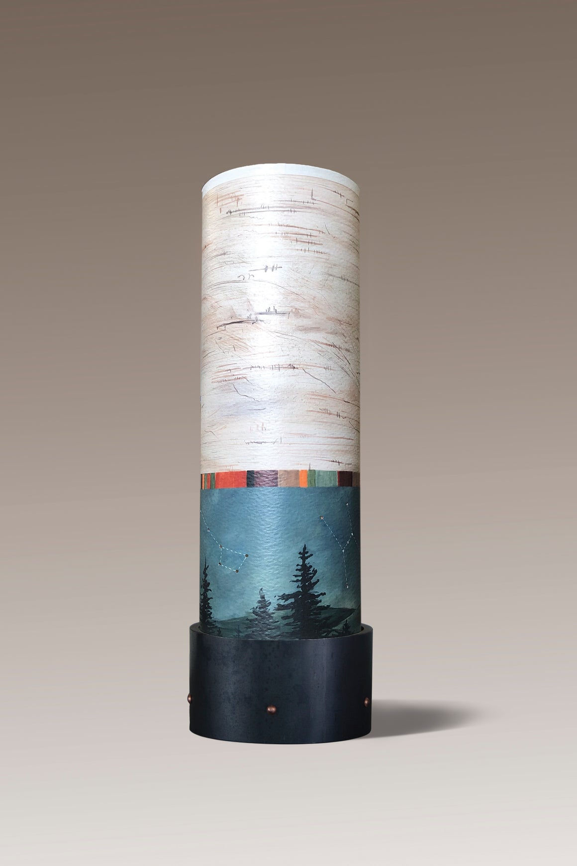 Ceramic Luminaire Accent Lamp with Birch Midnight Shade