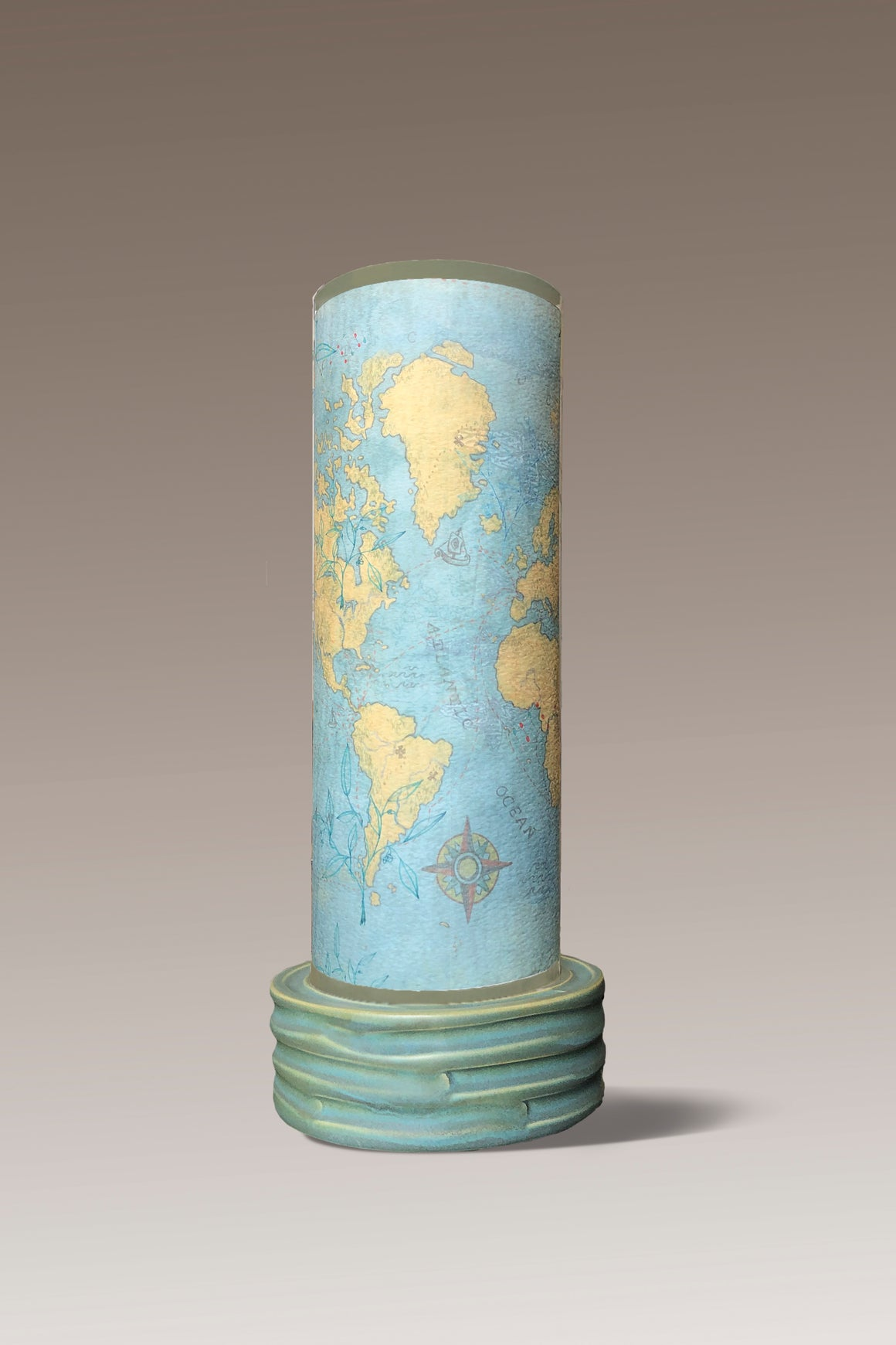 Ceramic Luminaire Accent Lamp with Map Shade