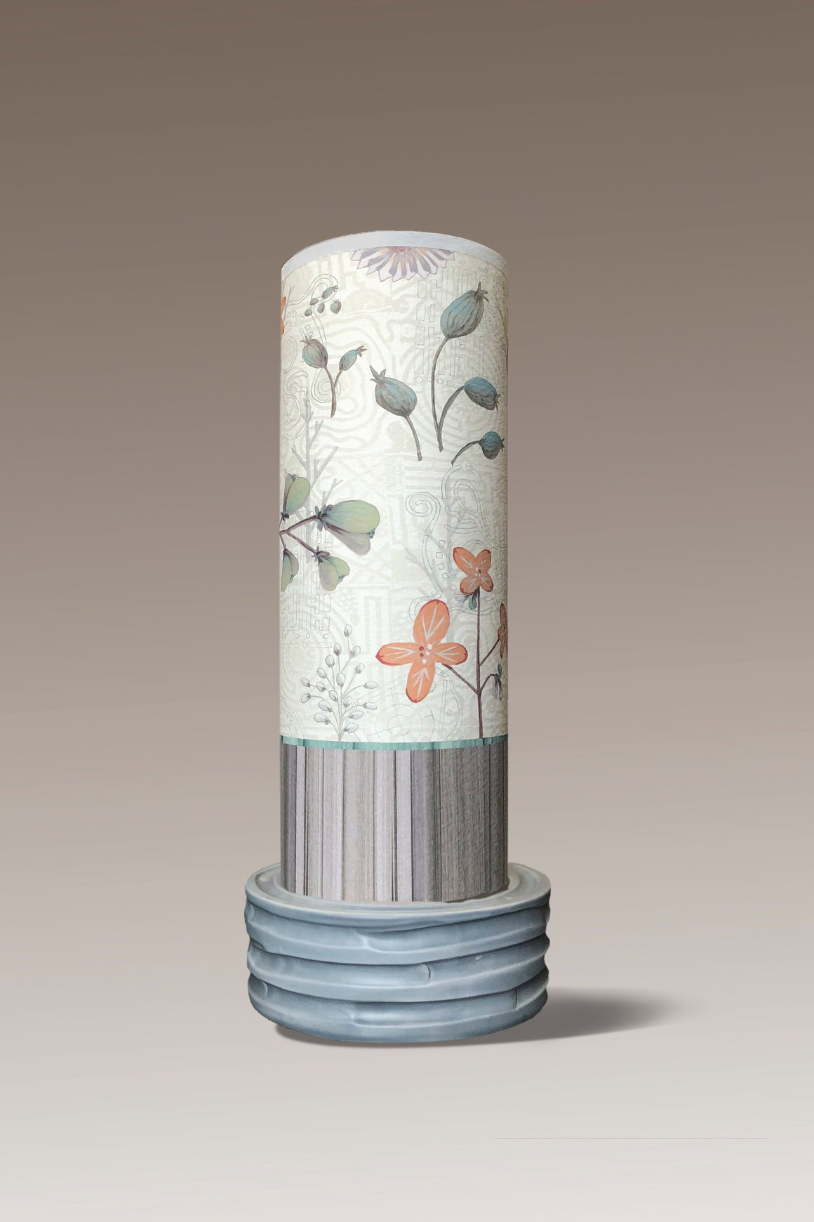 Ceramic Luminaire Accent Lamp with Flora and Maze Shade