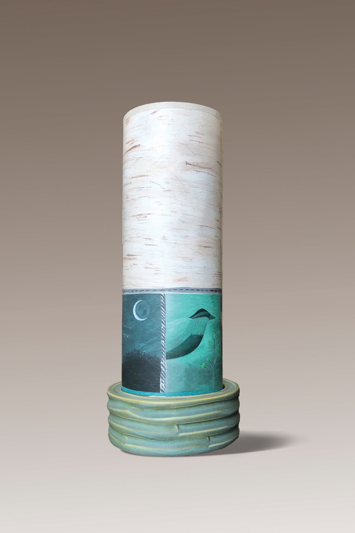 Ceramic Luminaire Accent Lamp with Woodland Trails in Birch Shade