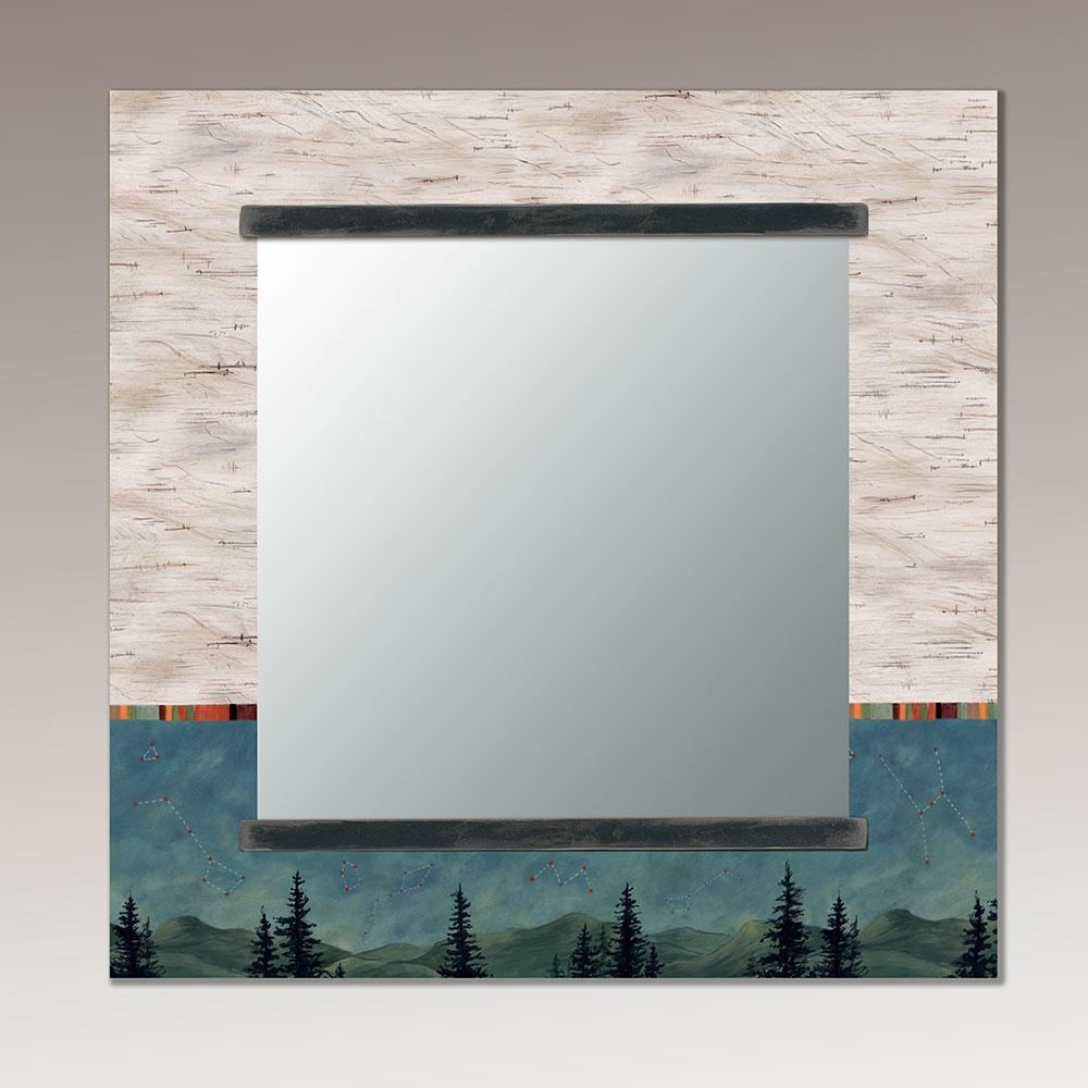 Square Wall Mirror in Birch Midnight