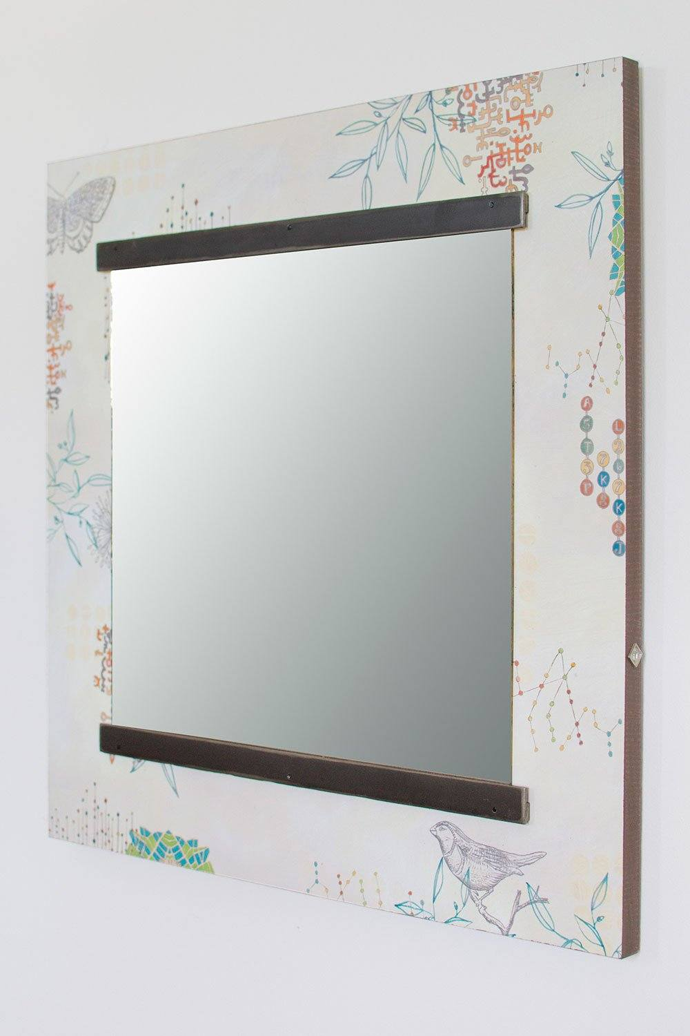 Square Wall Mirror in Ecru Journey