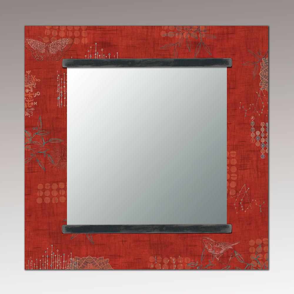 Square Wall Mirror in Red Journey