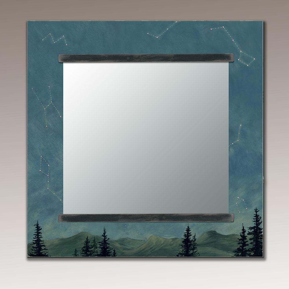 Square Wall Mirror in Midnight Sky