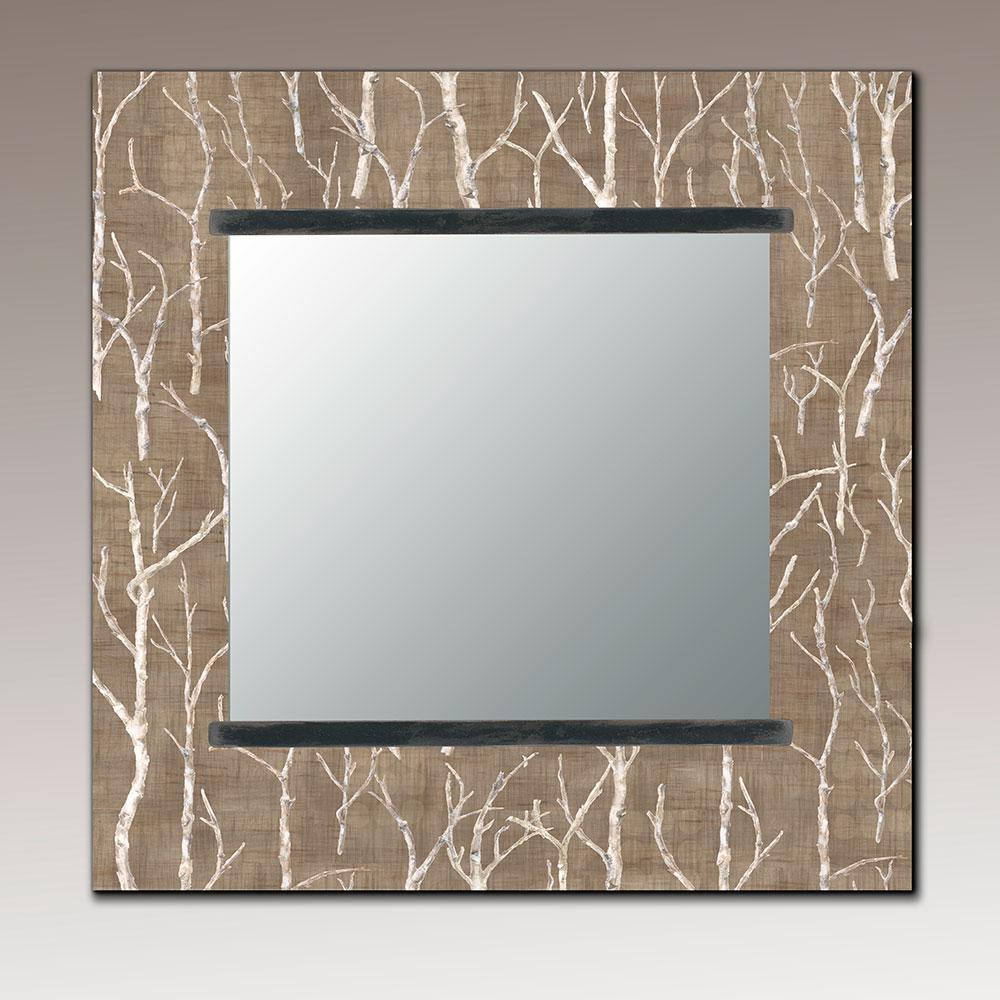 Square Wall Mirror in Twigs