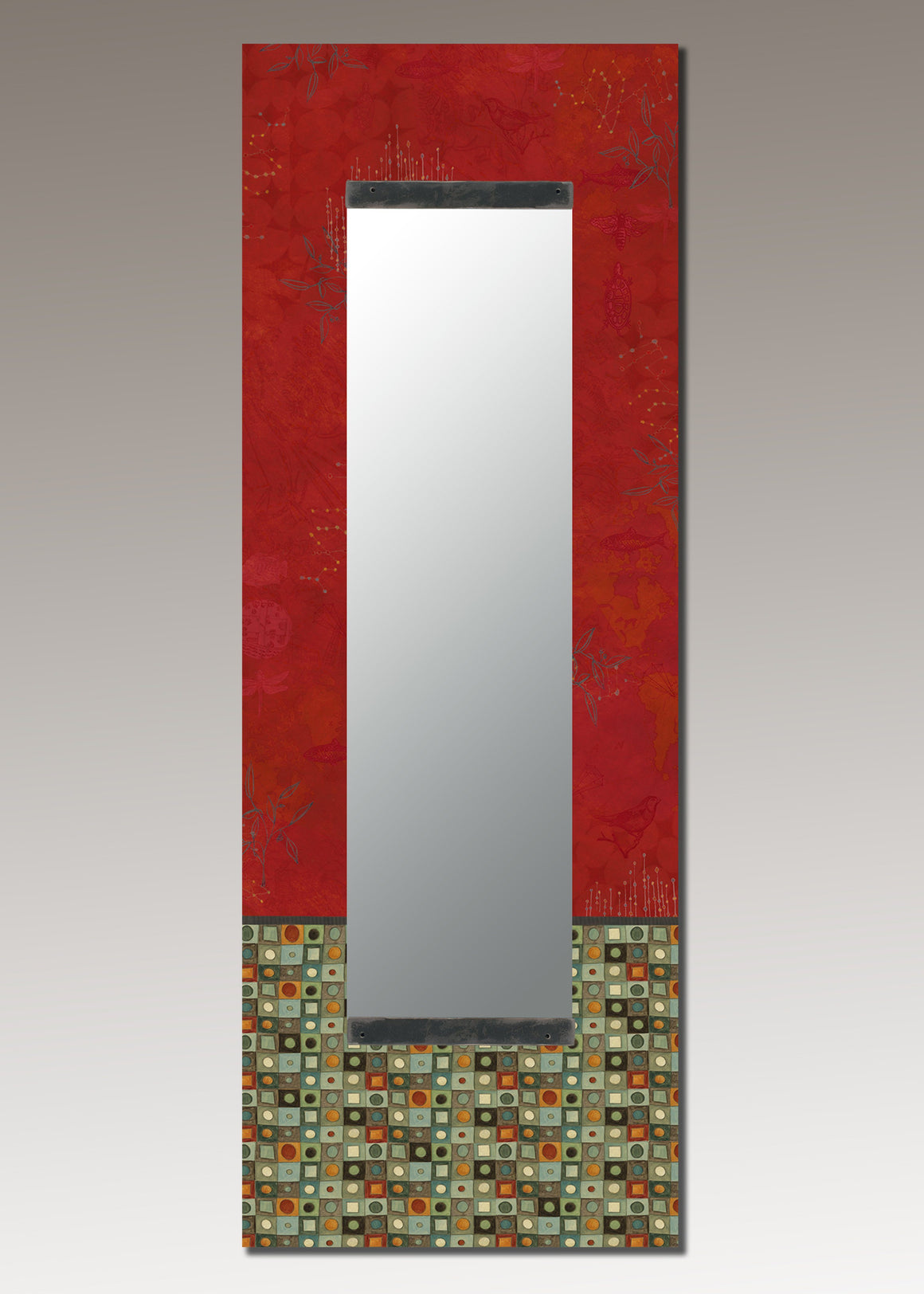 Tall Wall Mirror in Red Mosaic