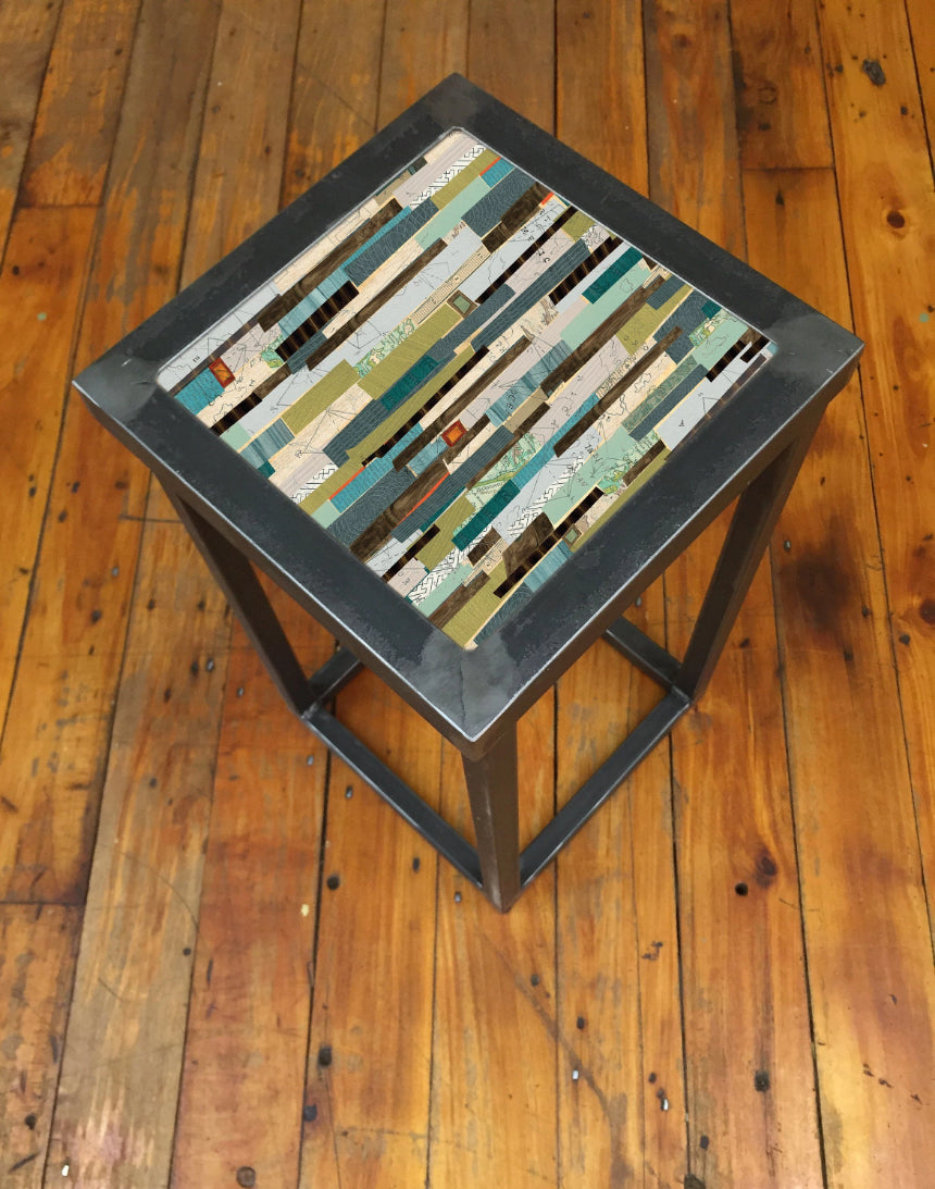 Square Steel Accent Table in Papers