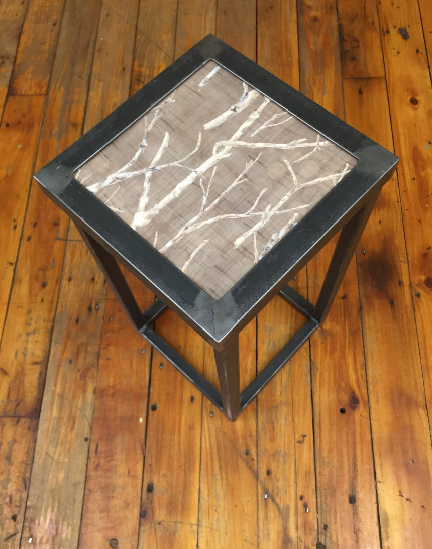 Square Steel Accent Table in Twigs