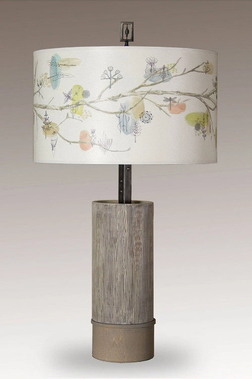 Ceramic and Wood Table Lamp with Large Drum Shade in Artful Branch