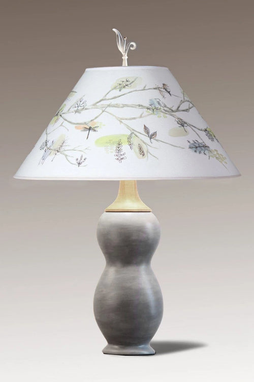 Butternut Ceramic & Maple Table Lamp with Large Conical Shade in Artful Branch