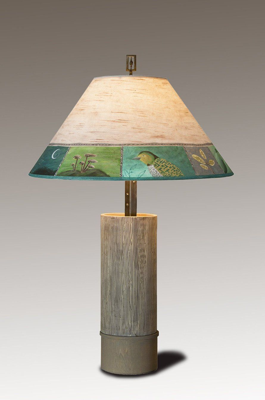 Ceramic Table Lamp With Large Drum Shade In Artful Branch Janna