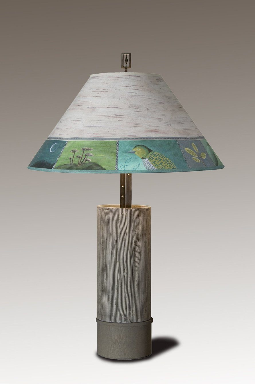 Ceramic and Wood Table Lamp with Large Conical Shade in Woodland Trail in Birch