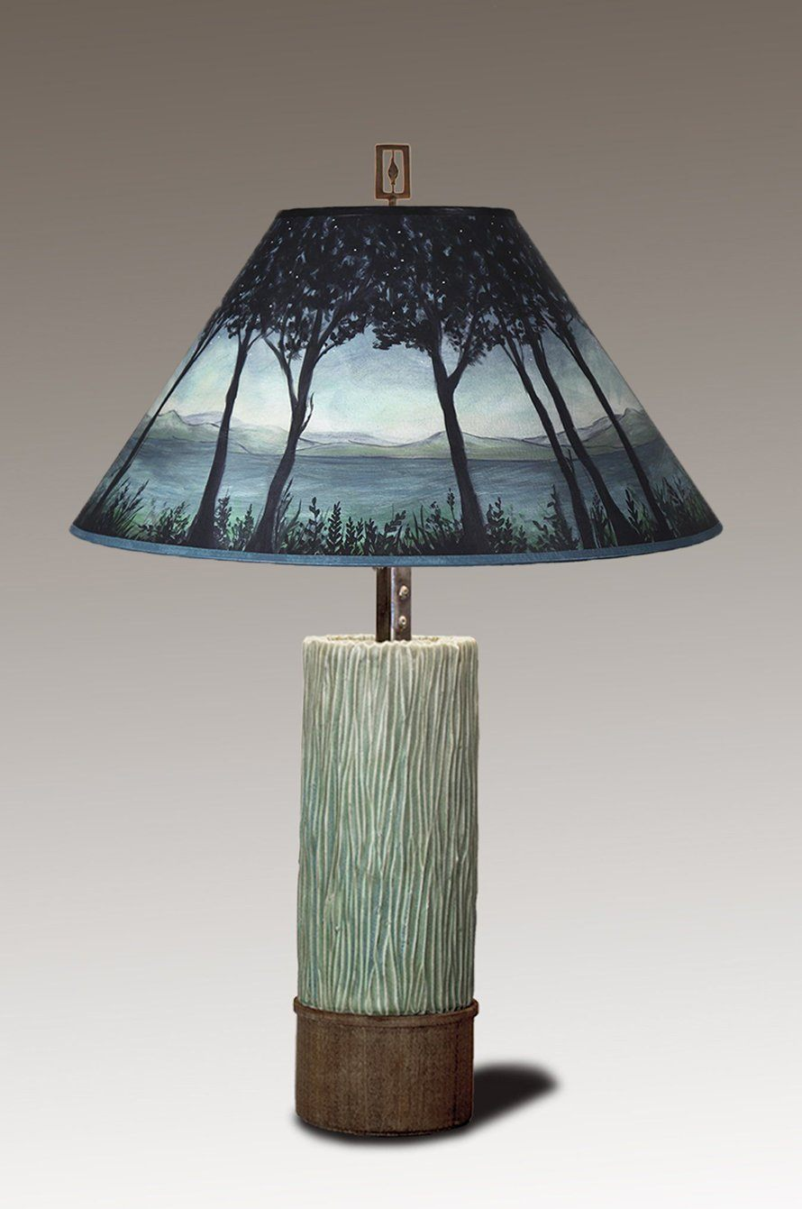 Ceramic and Wood Table Lamp with Large Conical Shade in Twilight
