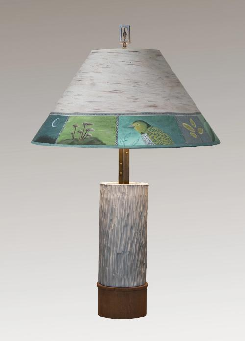 Ceramic and Wood Table Lamp with Large Conical Shade in Woodland Trails in Birch