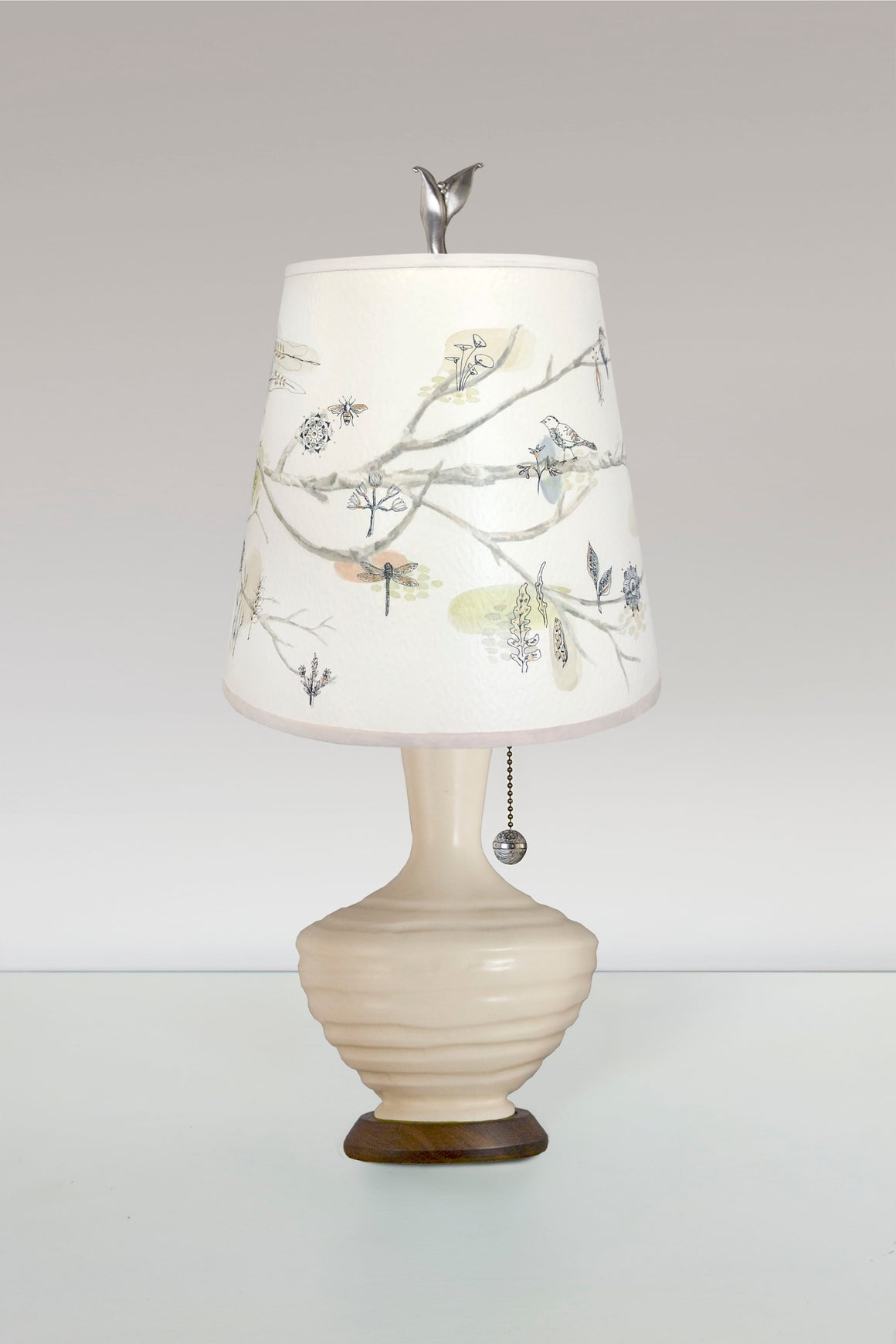 Ivory Ceramic Table Lamp with Small Drum Shade in Artful Branch