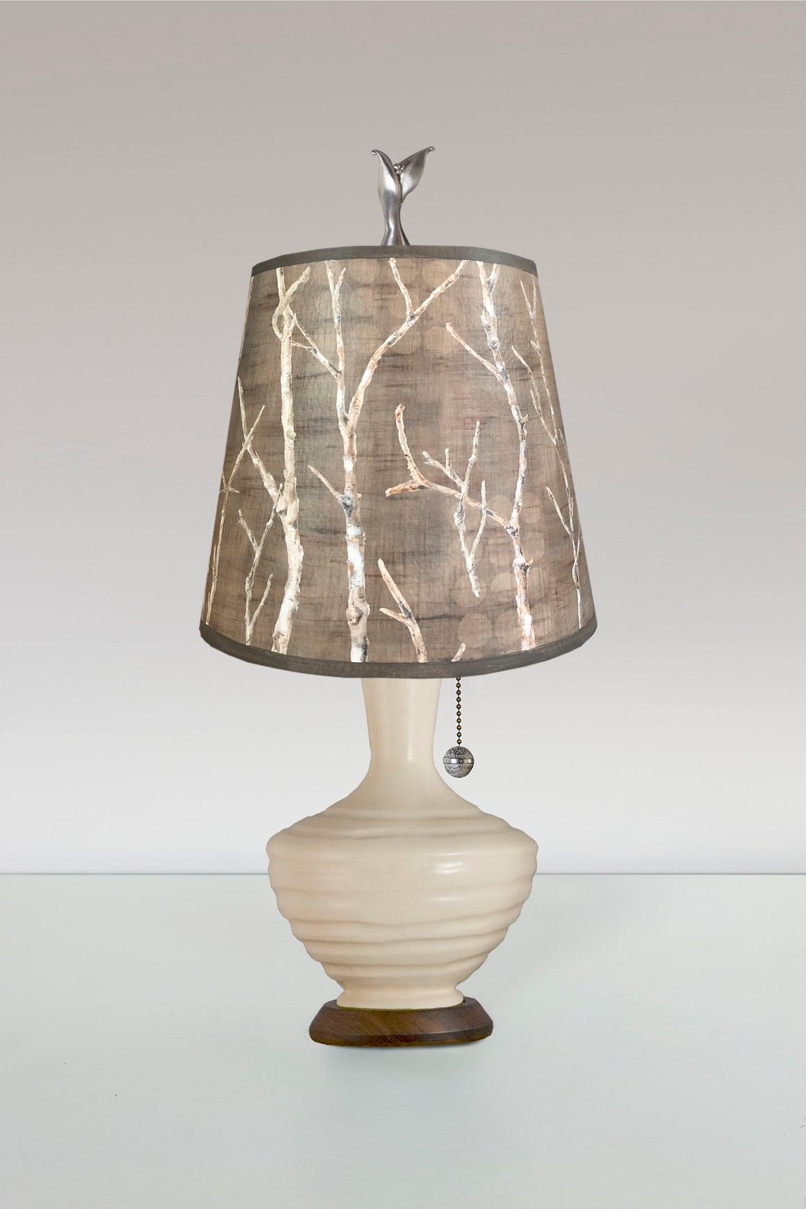 Ivory Ceramic Table Lamp with Small Drum Shade in Twigs