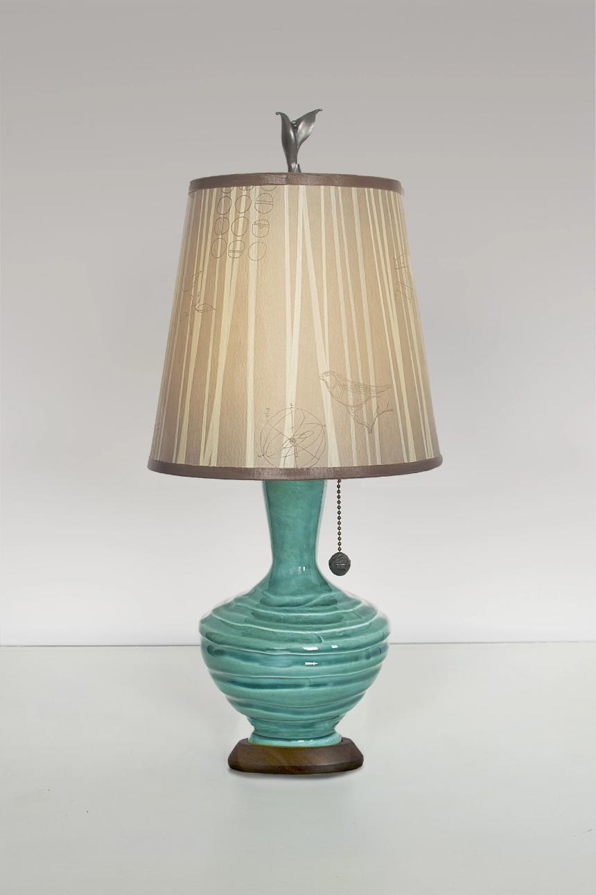 Pool Ceramic Table Lamp with Small Drum Shade in Birch