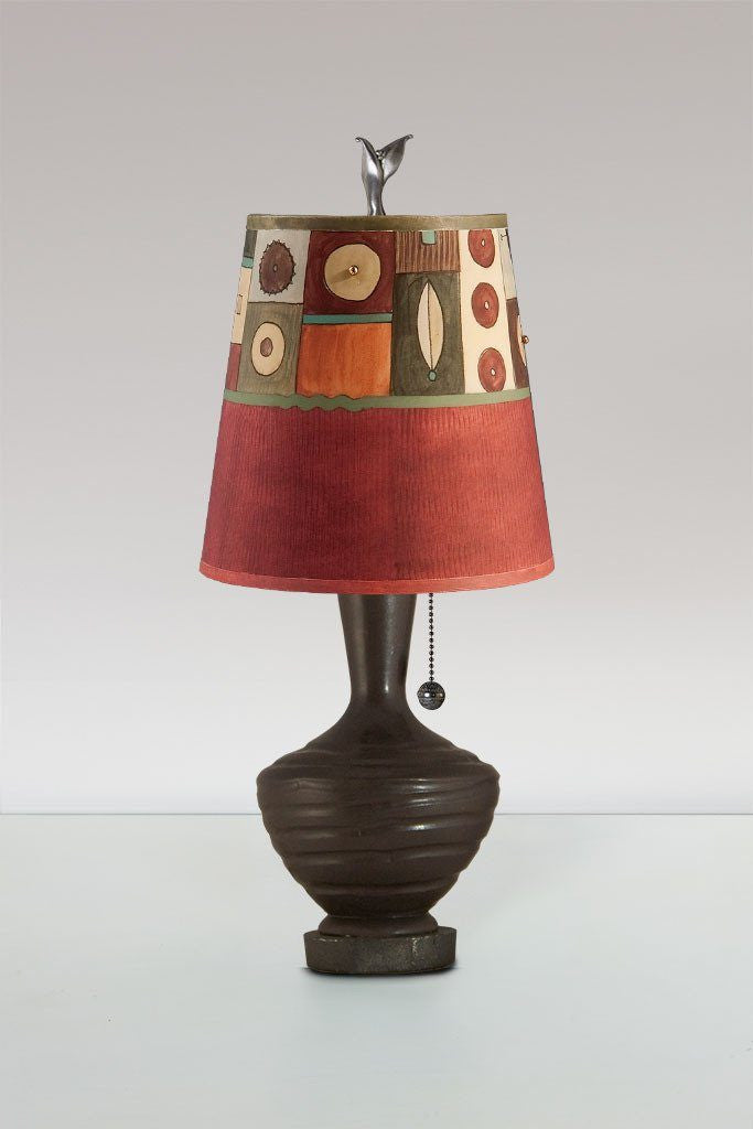 Chocolate ceramic table lamp with small drum shade in lucky mosaic chocolate ceramic table lamp with small drum shade in lucky mosaic maroon aloadofball Gallery