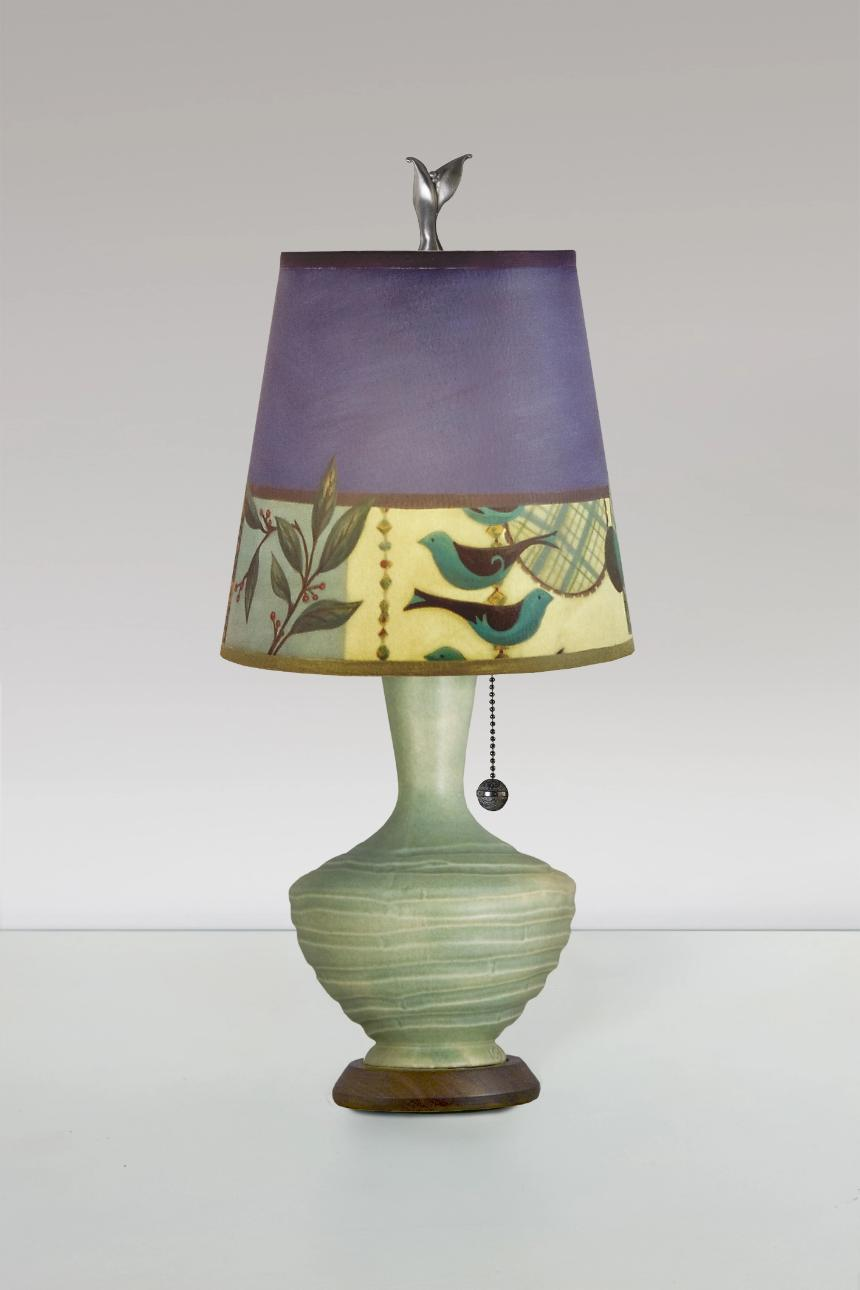 Old Copper Ceramic Table Lamp with Small Drum Shade in New Capri Periwinkle
