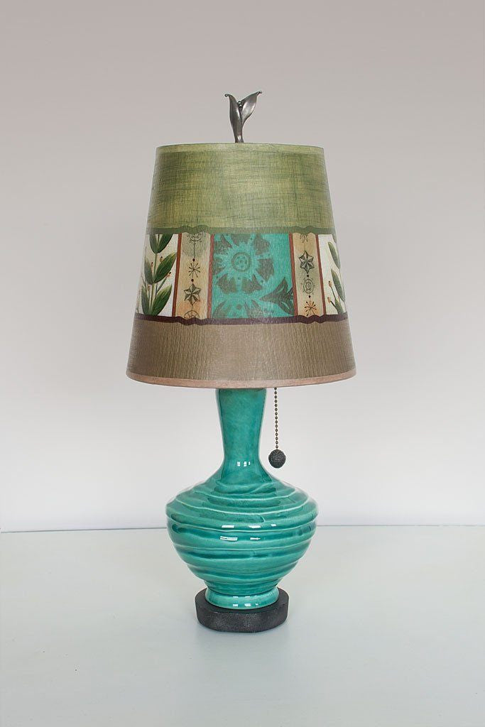 Pool Ceramic Table Lamp with Small Drum Shade in Spring Medley Apple