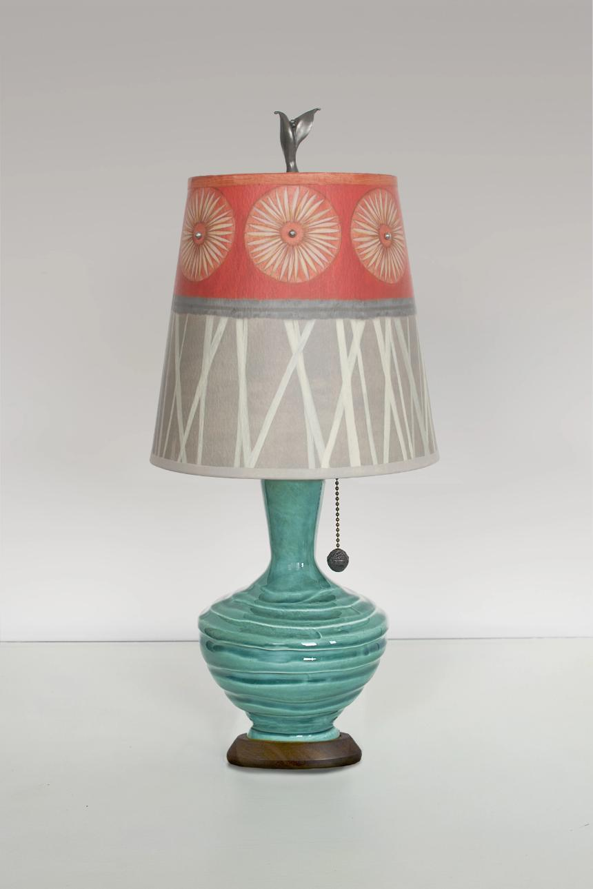 Ceramic Table Lamp with Small Drum Shade in Tang