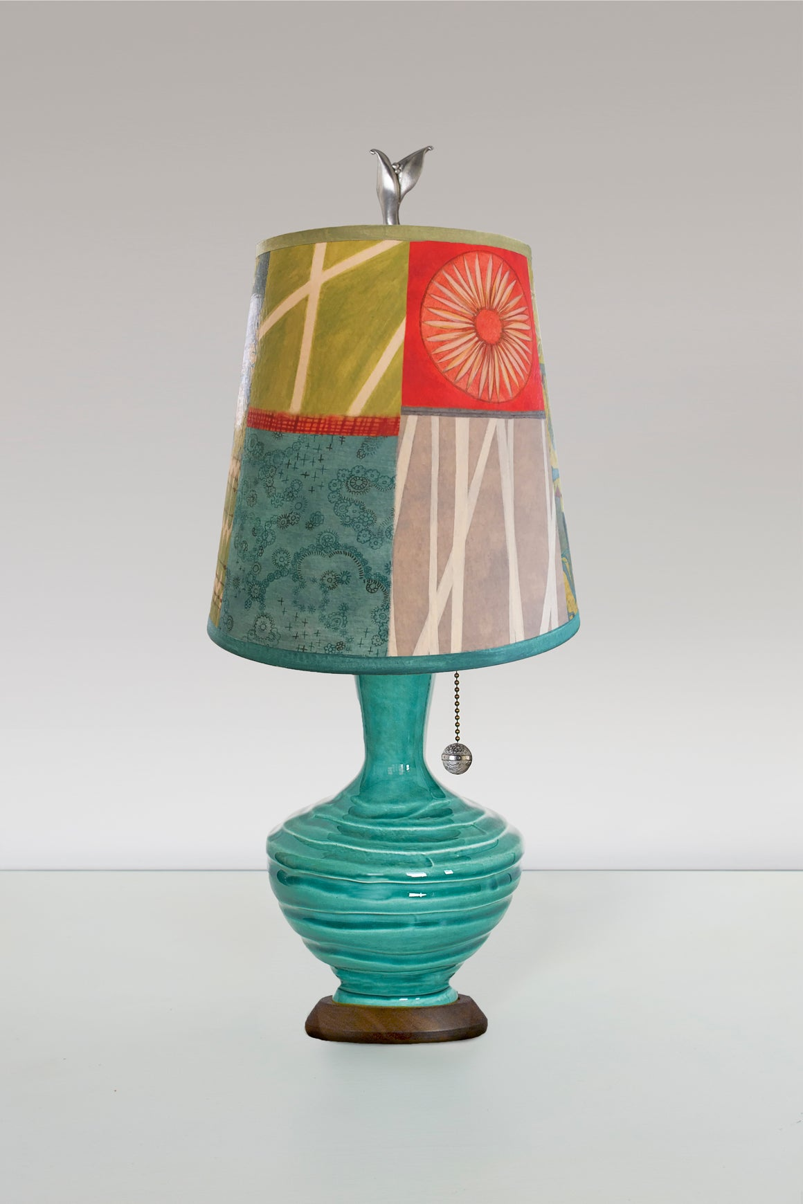 Ceramic Table Lamp with Small Drum Shade in Zest