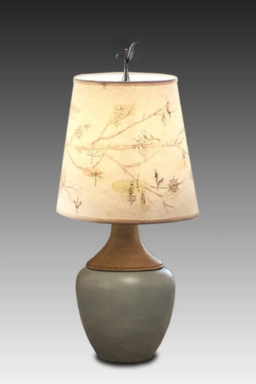 Ceramic and Walnut Table Lamp with Small Drum Shade in Artful Branch