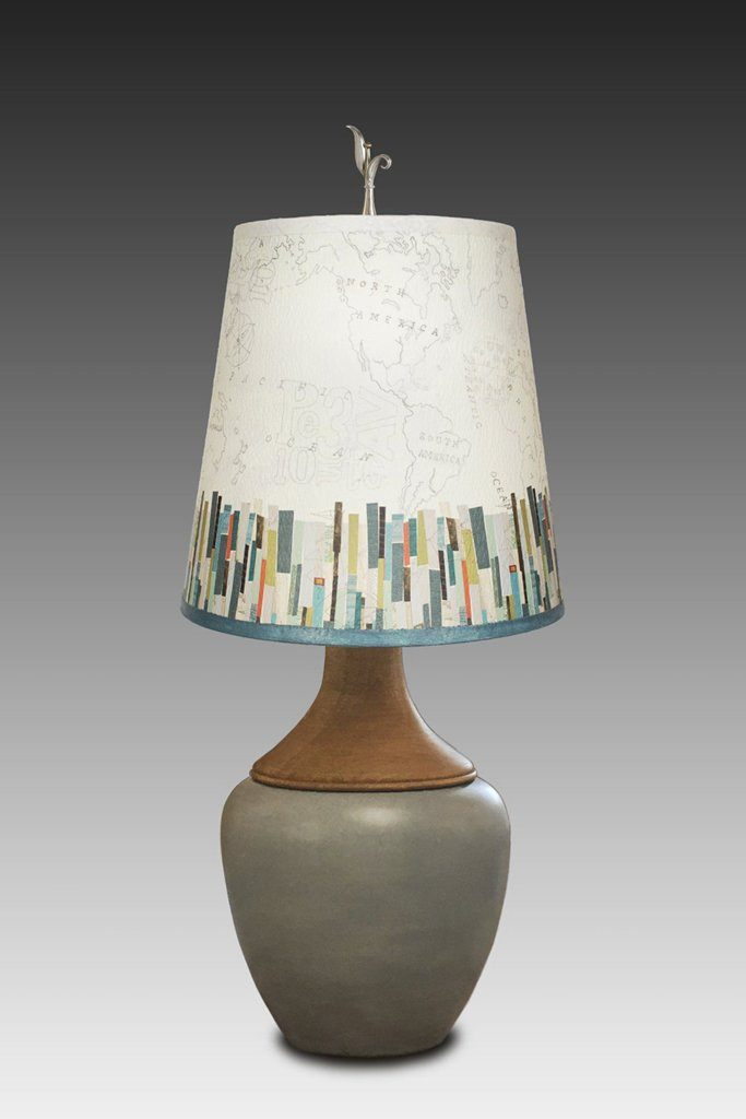 Ceramic and Walnut Table Lamp with Small Drum Shade in Papers Edge