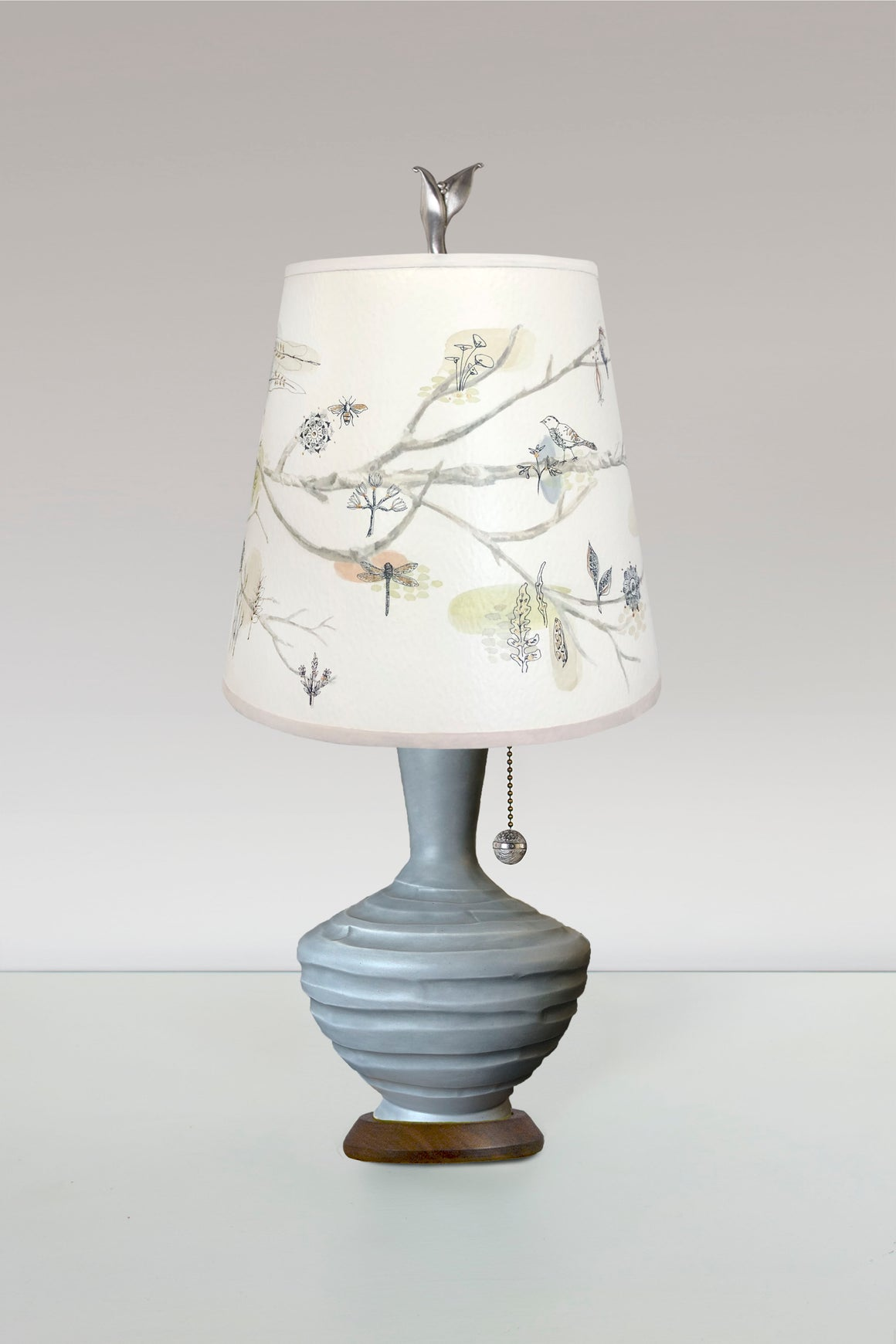 Dove Grey Ceramic Table Lamp with Small Drum Shade in Artful Branch