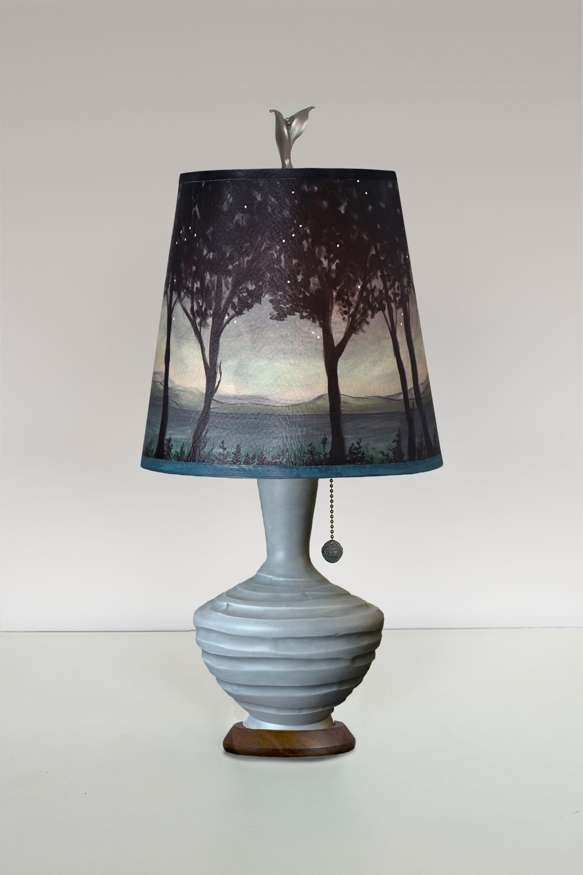 Dove Grey Ceramic Table Lamp with Small Drum Shade in Twilight