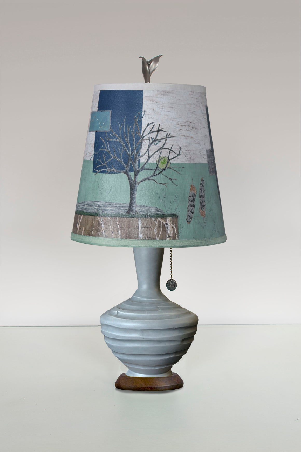Dove Grey Ceramic Table Lamp with Small Drum Shade in Wander in Field