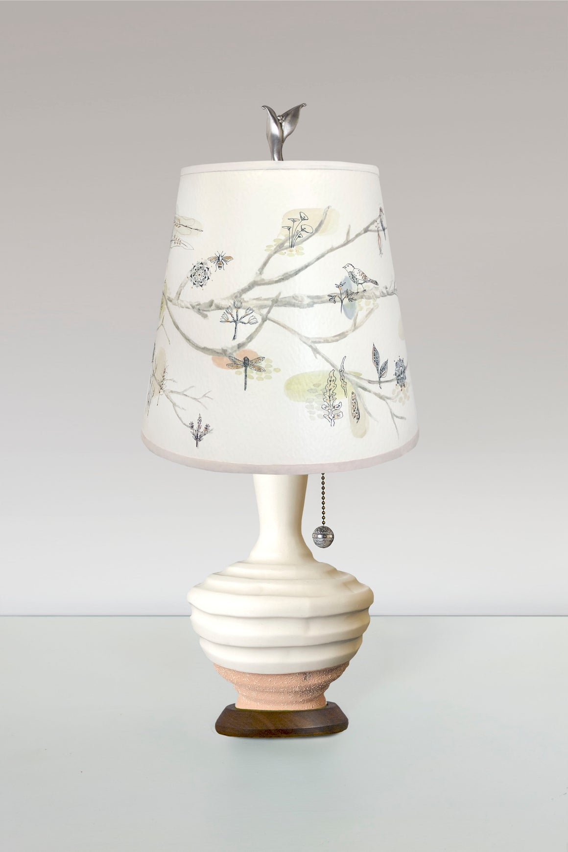 Terracotta and White Ceramic Table Lamp with Small Drum Shade in Artful Branch